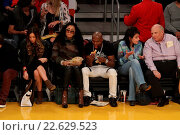 Купить «Celebrities out at the Lakers game at Staples Center. The Los Angeles Lakers defeated the Detroit Pistons by the final score of 95-85 Featuring: Floyd...», фото № 22629523, снято 15 ноября 2015 г. (c) age Fotostock / Фотобанк Лори