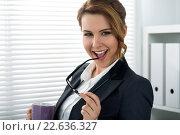 Купить «Портрет радостной деловой женщины», фото № 22636327, снято 27 апреля 2015 г. (c) Людмила Дутко / Фотобанк Лори