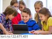 Купить «group of school kids with tablet pc in classroom», фото № 22671431, снято 15 ноября 2014 г. (c) Syda Productions / Фотобанк Лори