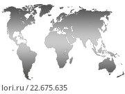 Купить «Grey gradient world map, isolated», иллюстрация № 22675635 (c) Александр Подшивалов / Фотобанк Лори