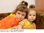 Купить «Две маленькие сестренки сидят на диване. Портрет», фото № 22675831, снято 26 марта 2016 г. (c) Ирина Борсученко / Фотобанк Лори