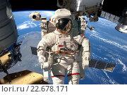 Купить «International Space Station and astronaut.», фото № 22678171, снято 3 апреля 2016 г. (c) Андрей Армягов / Фотобанк Лори