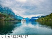 Купить «Cruise Liners On Hardanger fjorden», фото № 22678187, снято 17 июня 2015 г. (c) Андрей Армягов / Фотобанк Лори