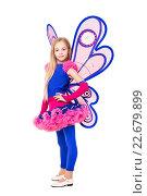 Купить «Маленькая девочка позирует в костюме бабочки на белом фоне», фото № 22679899, снято 1 декабря 2014 г. (c) Сергей Сухоруков / Фотобанк Лори