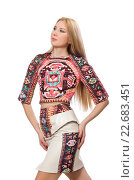 Купить «Pretty model in clothes with carpet prints isolated on white», фото № 22683451, снято 20 марта 2015 г. (c) Elnur / Фотобанк Лори
