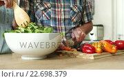 Купить «Preparation of a green salad in a salad bowl», видеоролик № 22698379, снято 23 июля 2019 г. (c) Wavebreak Media / Фотобанк Лори