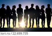 Купить «silhouettes of students on stairs over sun», фото № 22699735, снято 17 октября 2015 г. (c) Syda Productions / Фотобанк Лори
