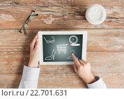 Купить «close up of female hands with tablet pc and coffee», фото № 22701631, снято 10 октября 2014 г. (c) Syda Productions / Фотобанк Лори