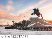 Купить «Памятник Петру I («Медный всадник») на Сенатской площади в Санкт-Петербурге», фото № 22717171, снято 27 февраля 2016 г. (c) Baturina Yuliya / Фотобанк Лори
