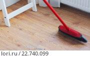 Купить «woman with broom cleaning floor at home», видеоролик № 22740099, снято 17 апреля 2016 г. (c) Syda Productions / Фотобанк Лори