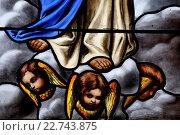 Купить «Saint Antoine church. Stained glass window. Angels at the feet of the Virgin Mary.», фото № 22743875, снято 24 апреля 2019 г. (c) age Fotostock / Фотобанк Лори