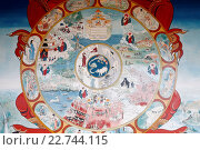 Купить «Temple of the Thousand Buddhas. Dashang Kagyu Ling congregation. Wheel of Samsara.», фото № 22744115, снято 21 октября 2018 г. (c) age Fotostock / Фотобанк Лори