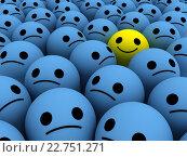 Счастливый смайлик среди грустных. Стоковая иллюстрация, иллюстратор Алексей Романенко / Фотобанк Лори