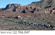 Купить «Parador Las Canadas del Teide is on the TF-24 road near the Roques Garcia in Teide National Park. Tenerife, Canary islands, Spain», видеоролик № 22766047, снято 18 февраля 2016 г. (c) Кекяляйнен Андрей / Фотобанк Лори