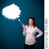 Купить «Young woman smoking unhealthy cigarette with dense smoke», фото № 22773383, снято 18 февраля 2020 г. (c) easy Fotostock / Фотобанк Лори
