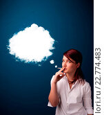 Купить «Young woman smoking unhealthy cigarette with dense smoke», фото № 22774483, снято 18 февраля 2020 г. (c) easy Fotostock / Фотобанк Лори