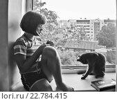 Купить «Задумчивая девочка сидит на подоконнике и смотрит в окно», фото № 22784415, снято 3 сентября 2011 г. (c) Корнилова Светлана / Фотобанк Лори