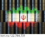 Купить «Iranian oil fuel energy concept. Iranian flag painted on oil barrels.», фото № 22784731, снято 17 июня 2019 г. (c) Maksym Yemelyanov / Фотобанк Лори