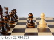 Купить «Белая и черная пешки на шахматной доске», фото № 22784735, снято 30 января 2016 г. (c) Рамиль Гибадуллин / Фотобанк Лори