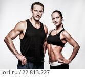 Купить «Couple with beautiful athletic bodies», фото № 22813227, снято 31 июля 2011 г. (c) Andrejs Pidjass / Фотобанк Лори