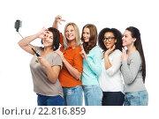 Купить «group of happy taking selfie by smartphoone», фото № 22816859, снято 17 апреля 2016 г. (c) Syda Productions / Фотобанк Лори