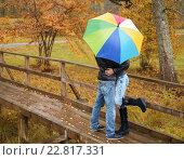 Купить «Happy middle-aged couple with umbrella outdoors on beautiful rainy autumn day», фото № 22817331, снято 3 октября 2013 г. (c) Andrejs Pidjass / Фотобанк Лори