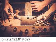 Купить «Desktop for craft jewellery making with professional tools.», фото № 22818627, снято 26 декабря 2015 г. (c) Andrejs Pidjass / Фотобанк Лори