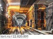 Купить «Участок туннеля метро после станции с техническими помещениями», фото № 22820891, снято 9 ноября 2010 г. (c) Всеволод Чуванов / Фотобанк Лори