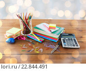 Купить «close up of stationery or school supplies on table», фото № 22844491, снято 17 марта 2016 г. (c) Syda Productions / Фотобанк Лори