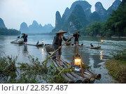 Китайские рыбаки плывут на плотах на рыбалку традиционным для китая способом с помощью ручных бакланов на фоне гор в провинции Гуанси, Китай (2013 год). Редакционное фото, фотограф Николай Винокуров / Фотобанк Лори