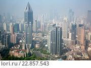 Купить «Вид с высоты птичьего полета на центр и небоскребы города Шанхая, Китай», фото № 22857543, снято 12 мая 2013 г. (c) Николай Винокуров / Фотобанк Лори