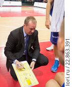 Купить «Баскетбол, тренер Kazys Maksvytis», фото № 22863391, снято 9 ноября 2013 г. (c) Pavel Shchegolev / Фотобанк Лори
