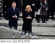 Купить «Auschwitz, Poland, commemorating the 71st anniversary of the liberation of Auschwitz», фото № 22912915, снято 26 января 2016 г. (c) Caro Photoagency / Фотобанк Лори