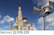 Купить «Московская соборная мечеть на фоне неба», видеоролик № 22918235, снято 18 мая 2016 г. (c) Владимир Журавлев / Фотобанк Лори