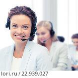 Купить «female helpline operator with headphones», фото № 22939027, снято 9 июня 2013 г. (c) Syda Productions / Фотобанк Лори