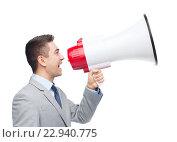 Купить «happy businessman in suit speaking to megaphone», фото № 22940775, снято 29 января 2015 г. (c) Syda Productions / Фотобанк Лори