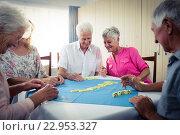 Купить «Group of seniors playing dominoes», фото № 22953327, снято 22 марта 2016 г. (c) Wavebreak Media / Фотобанк Лори