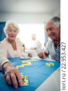 Купить «Group of seniors playing dominoes», фото № 22953427, снято 22 марта 2016 г. (c) Wavebreak Media / Фотобанк Лори