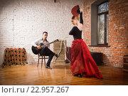Купить «Молодая женщина эмоционально танцует фламенко, мужчина сидит на стуле и играет на гитаре», фото № 22957267, снято 13 апреля 2016 г. (c) Дмитрий Черевко / Фотобанк Лори