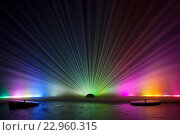 Купить «Тамбов. Ночной вид на фонтаны на реке Цне», эксклюзивное фото № 22960315, снято 8 мая 2016 г. (c) Литвяк Игорь / Фотобанк Лори