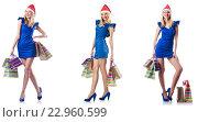 Купить «Woman with shopping bags isolated on white», фото № 22960599, снято 11 сентября 2012 г. (c) Elnur / Фотобанк Лори