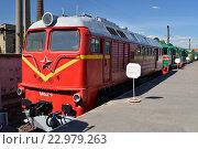 Купить «Грузовой тепловоз М-62-1 в железнодорожном музее в бывшем Варшавском вокзале в Санкт-Петербурга», фото № 22979263, снято 12 мая 2016 г. (c) Максим Мицун / Фотобанк Лори