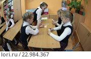 Перемена в школе, девочки играют за партой в домино (2016 год). Редакционное видео, видеограф Кекяляйнен Андрей / Фотобанк Лори