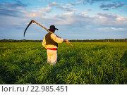 Купить «Мужчина косит траву», фото № 22985451, снято 20 мая 2016 г. (c) Олег Жуков / Фотобанк Лори