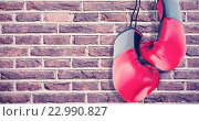 Купить «Composite image of boxing gloves attached to white background», фото № 22990827, снято 16 октября 2018 г. (c) Wavebreak Media / Фотобанк Лори