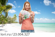 Купить «happy young woman with euro cash money», фото № 23004327, снято 30 апреля 2016 г. (c) Syda Productions / Фотобанк Лори