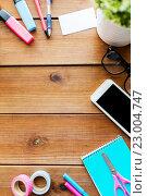 Купить «close up of stationery and smartphone on table», фото № 23004747, снято 22 марта 2016 г. (c) Syda Productions / Фотобанк Лори
