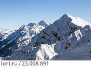 Купить «Ski resort Rosa Khutor. Mountains of Krasnaya Polyana. Sochi, Russia», фото № 23008891, снято 10 февраля 2016 г. (c) Сергей Лаврентьев / Фотобанк Лори