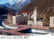 Купить «Ski resort in the Valley Rosa Khutor. Sochi, Russia», фото № 23015407, снято 10 февраля 2016 г. (c) Сергей Лаврентьев / Фотобанк Лори