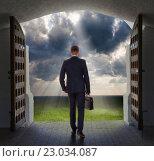 Купить «Businessman has found exit, concept», фото № 23034087, снято 11 мая 2016 г. (c) Владимир Мельников / Фотобанк Лори